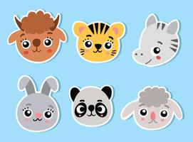 Cute Animal Face On Blue Vector