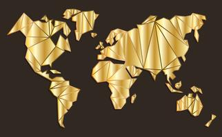 Golden Global Maps Vector