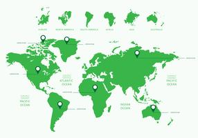 Mapa Global Fla Green vector