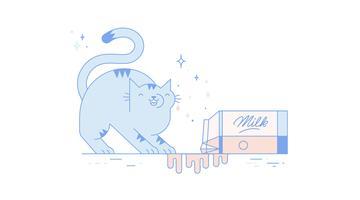 Free Cat Drinking Milk Vector