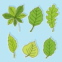Handdragen gröna blad vektor