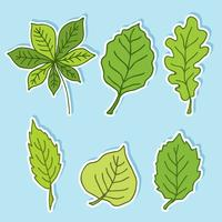 Hand Drawn Green Leaves Vector