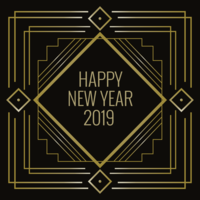 Feliz año nuevo en estilo Art Deco