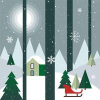 Paisaje de Navidad de Vector de diseño plano gratis