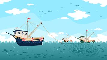 Trawlers Catching Fish Vector