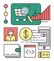 Linear Online Shopping Vector Illustration