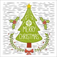 Free Hand Drawn Vector Christmas Tree Illustration