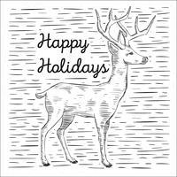 Free Hand Drawn Vector Deer Illustration