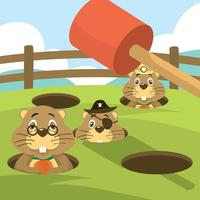 Whack a Mole Gopher Arcade Game Free Vector