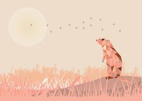 Standing Gopher Low Poly Illustration Vector