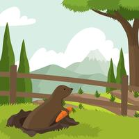 Gopher at Carrot Field Free Vector