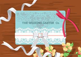 Wedding Concept. Bridal Accessories on Wooden Background. Wedding Invitation with Garter vector