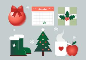 Éléments de Noël de vecteur de conception gratuit