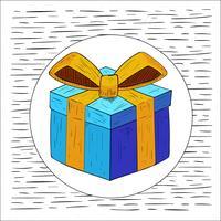 Ilustração da caixa de presente do vetor desenhada à mão livre