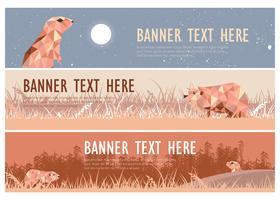 Gopher Illustration Web Banner Pack Vector