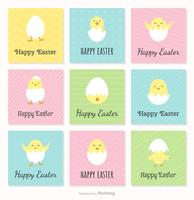 Happy Easter Cards With Cute Chickens And Broken Eggs