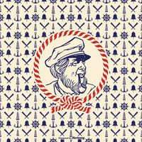Hand Drawn Retro Seaman Vector Portrait
