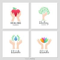 Charity And Healing Female Hands Vector Logos
