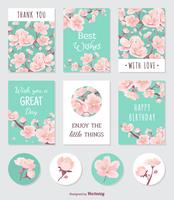 Cards And Stickers With Peach Tree Blossom