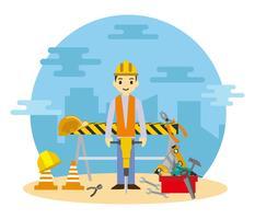 Trabajador libre que trabaja con el vector neumático