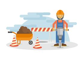 Man with Pnemuatic Drill Vector Illustration