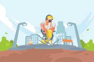 Worker with Pneumatic Illustration vector
