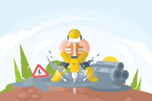 Worker with Pneumatic Drill Illustration vector