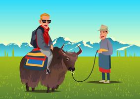 Turista Riding Yak Vector