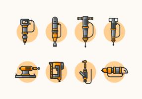 Pneumatische Bohrmaschine und Werkzeuge Illustrationen Kostenloses Vector Pack