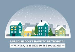 Free Flat design Vector Winter Cityscape