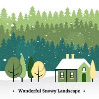 Free Flat Design Vector Christmas Landscape