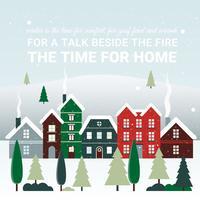 Freie flache Design-Vektor-Weihnachtslandschaft