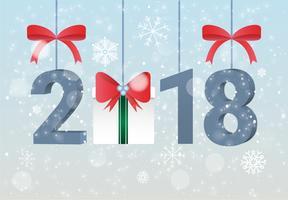 Kostenlose flache Design Vektor Neujahr Grußkarte