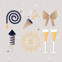 Free Flat Design Vector New Year Greeting Elements