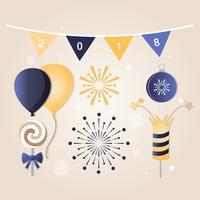 Tarjeta de felicitación de año nuevo de Vector de diseño plano gratis