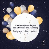 Free Flat Design Vector New Year Greeting Card Design