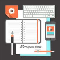 Free Flat Design Vector Workplace Elements