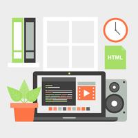 Gratis platte ontwerp Vector werkplekelementen
