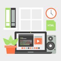 Freie flache Design-Vektor-Arbeitsplatz-Elemente