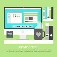 Elementos do Office Home do Vector Flat Design grátis
