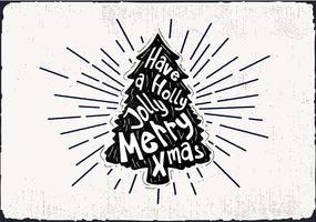 Tarjeta de felicitación del vector del árbol de navidad dibujado a mano libre