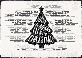 Fri handdragen julgran vektor hälsningskort