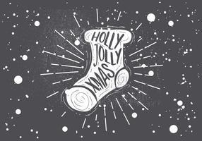 Tarjeta de felicitación del vector del calcetín de Navidad dibujado a mano libre