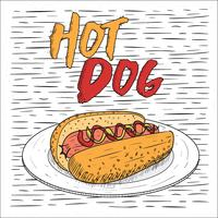 Fri handdragen Vector Hot Dog Illustration