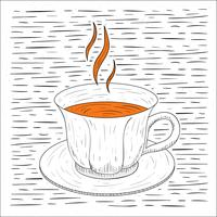 Fri handdragen Vector Hot Tea Illustration