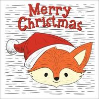Mano libre dibujado vector Christmas Fox Character Illustration