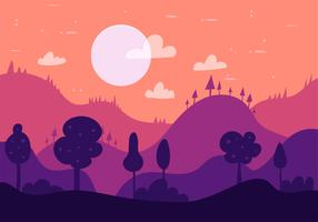 Free Hand Drawn Vector Nightscape Illustration