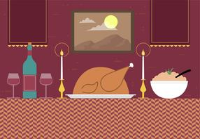 Free Hand Drawn Vector Dinner Illustration