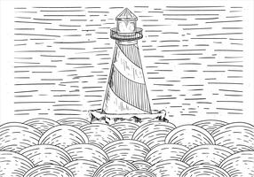 Illustration de phare de vecteur dessinés à la main libre
