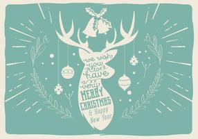 Free Vector Deer Christmas Illustration